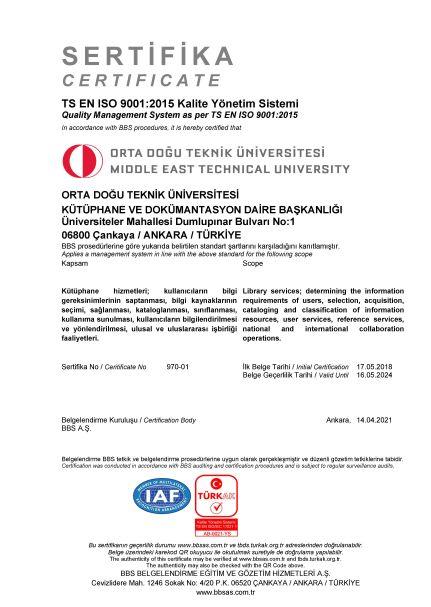 ISO9001:2015 Sertifikası
